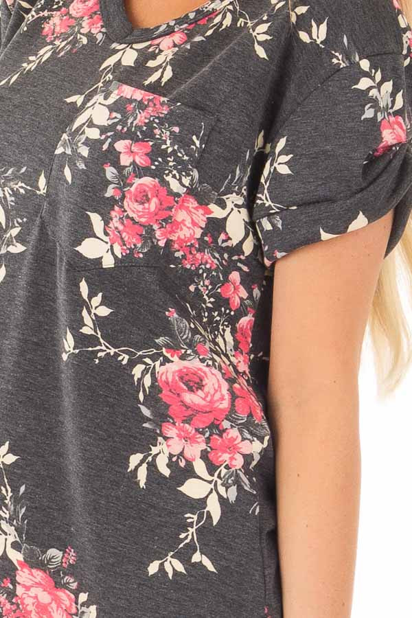 Charcoal and Blush Floral Print Knit V Neck Pocket Tee detail