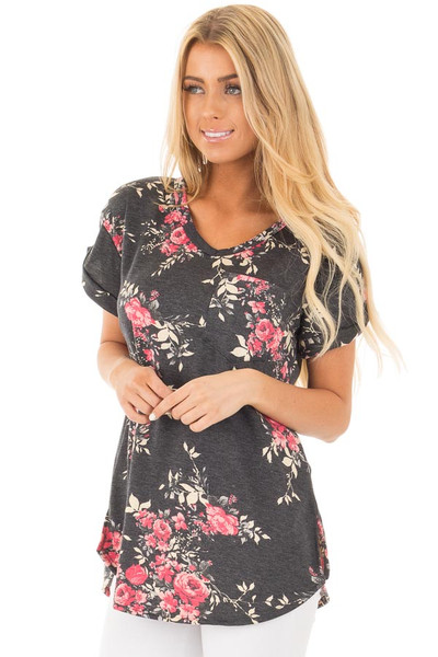 Charcoal and Blush Floral Print Knit V Neck Pocket Tee front close up