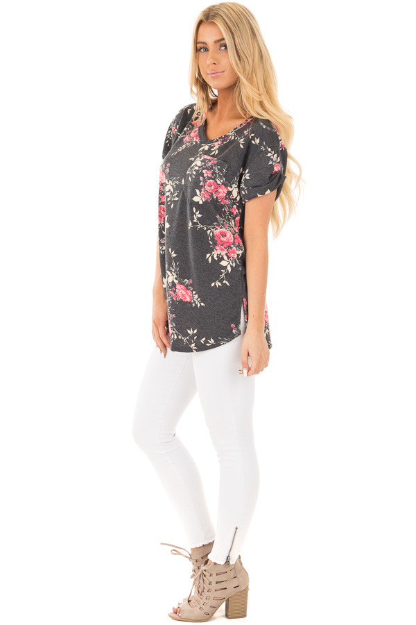 Charcoal and Blush Floral Print Knit V Neck Pocket Tee side full body