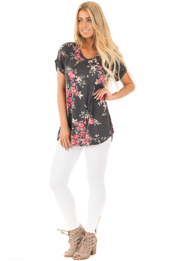 Charcoal and Blush Floral Print Knit V Neck Pocket Tee front full body