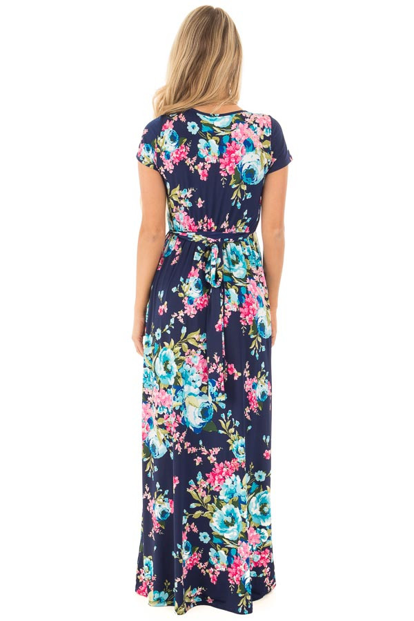 Navy Floral Surplice Front Maxi Dress with Front Tie Detail back full body