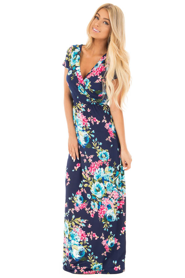 Navy Floral Surplice Front Maxi Dress with Front Tie Detail front full body