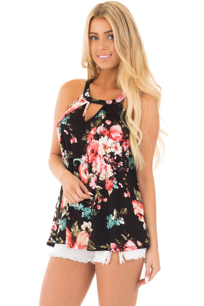 Black Floral Tank with Front Keyhole Detail front close up