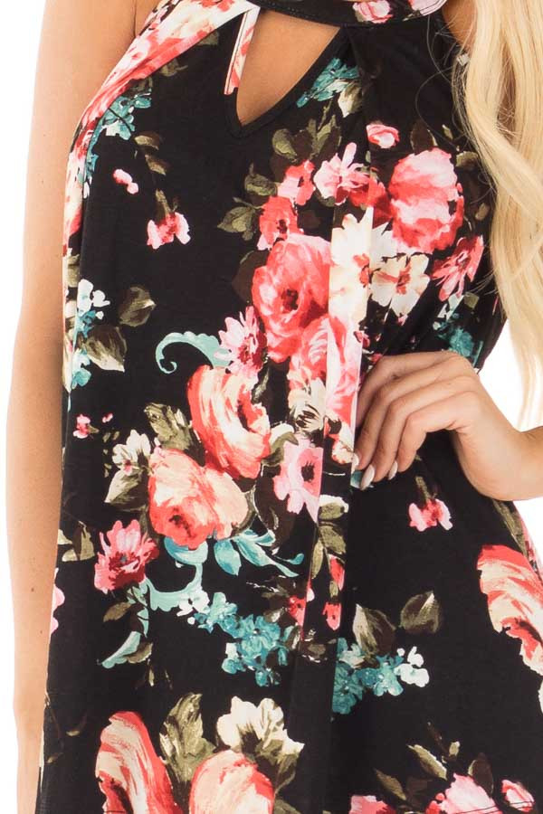Black Floral Tank with Front Keyhole Detail detail