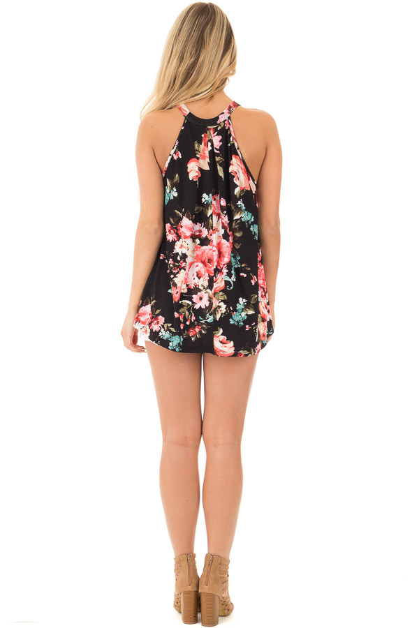 Black Floral Tank with Front Keyhole Detail back full body