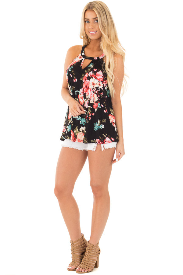 Black Floral Tank with Front Keyhole Detail front full body