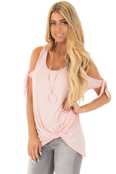 Blush Cold Shoulder Top with Gathered Front Detail front close up