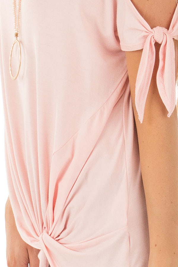 Blush Cold Shoulder Top with Gathered Front Detail detail