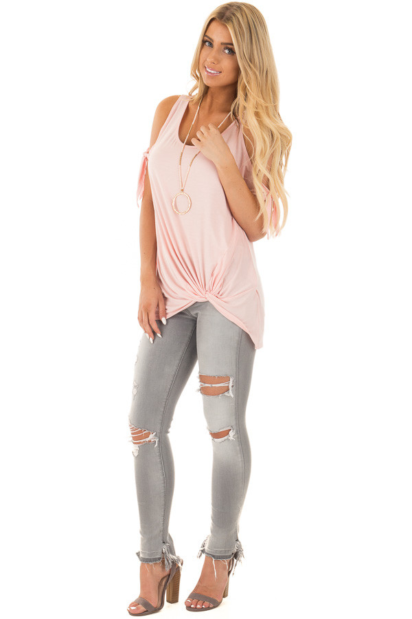 Blush Cold Shoulder Top with Gathered Front Detail front full body