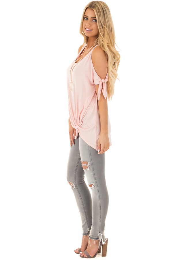 Blush Cold Shoulder Top with Gathered Front Detail side full body