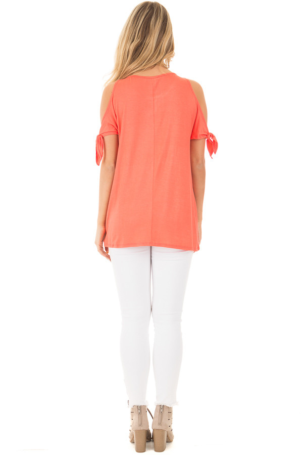 Coral Cold Shoulder Top with Knot Twist Detail back full body