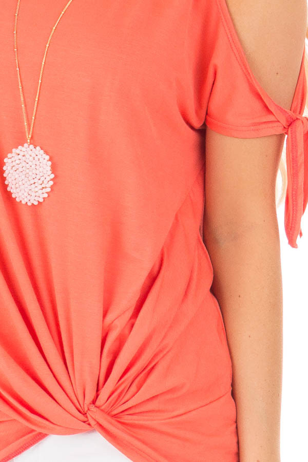 Coral Cold Shoulder Top with Knot Twist Detail detail