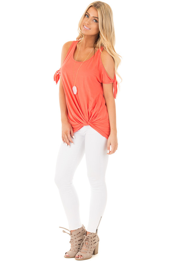 Coral Cold Shoulder Top with Knot Twist Detail front full body