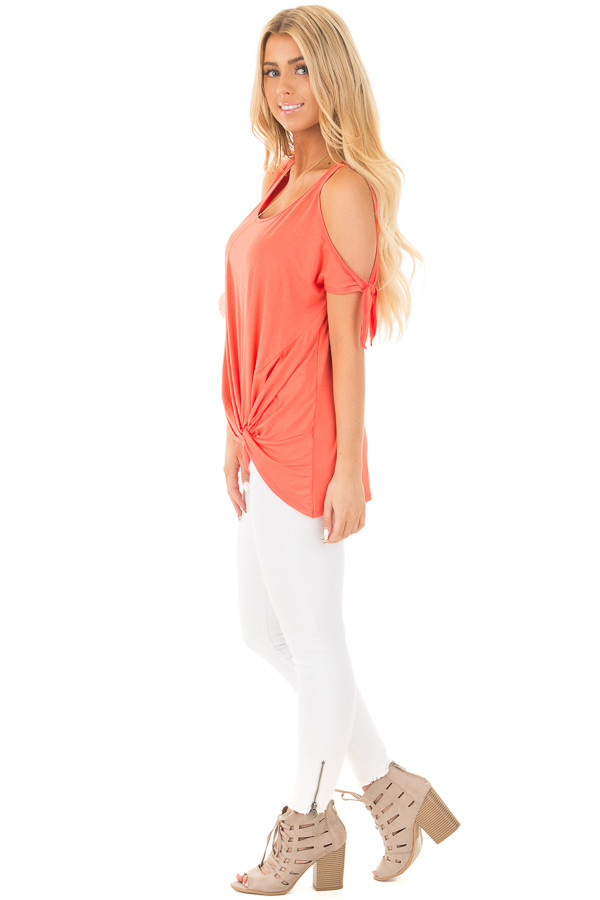 Coral Cold Shoulder Top with Knot Twist Detail side full body