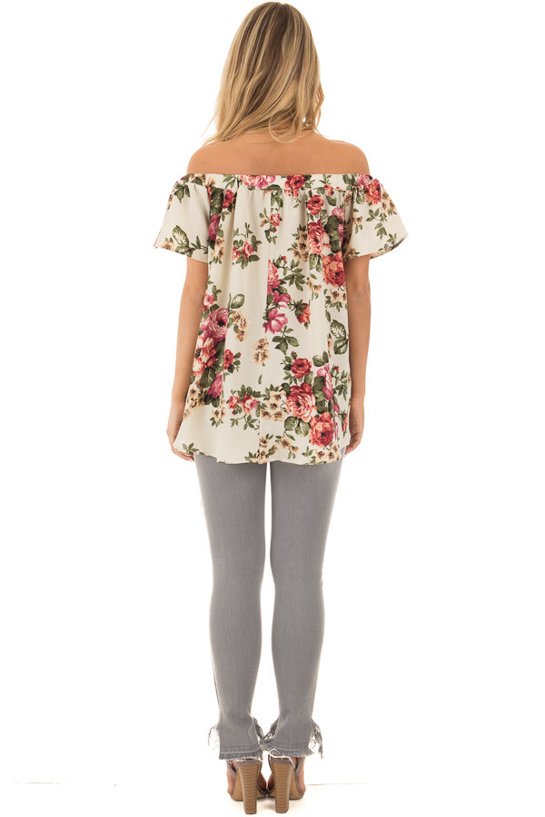 Cream Floral Off Shoulder Top back full body