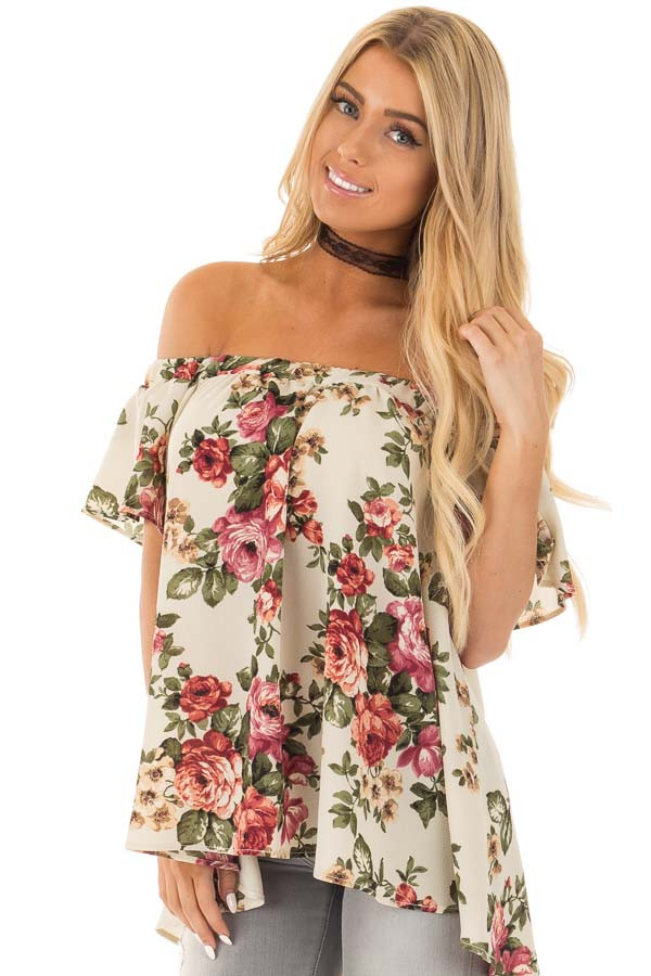 Cream Floral Off Shoulder Top front close up