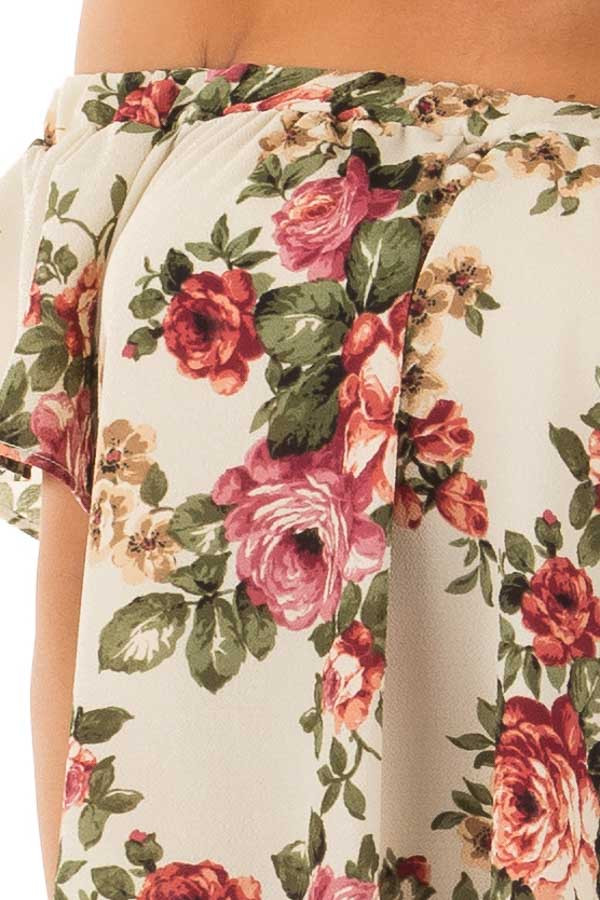 Cream Floral Off Shoulder Top detail