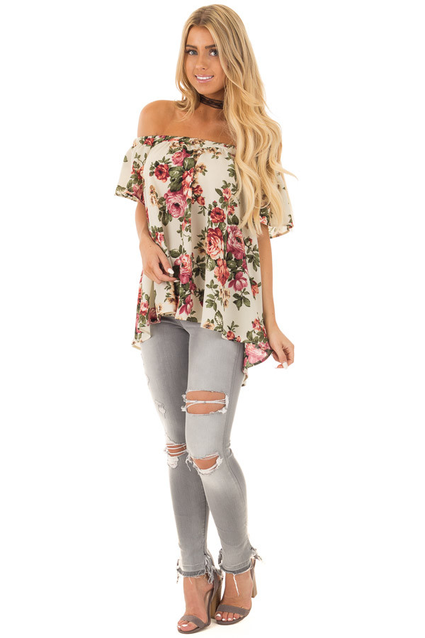 Cream Floral Off Shoulder Top front full body