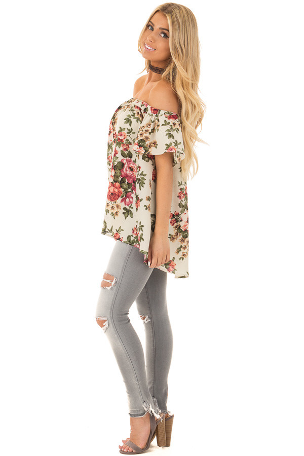 Cream Floral Off Shoulder Top side full body