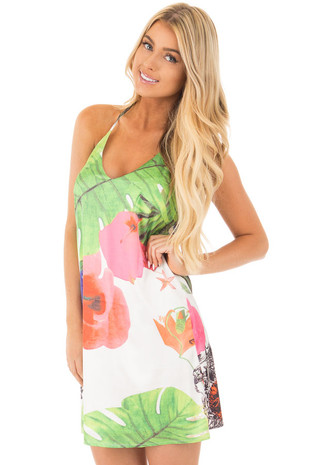 Ivory Tropical and Floral Print Short Halter Dress front close up