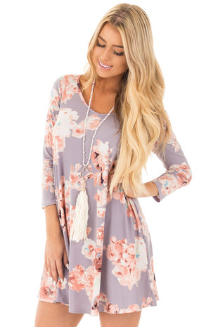 Dusty Lavender Floral Pocket Dress with Open Back front close up
