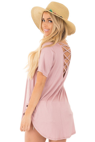 Pale Rose Top with Criss Cross Back and Rounded Hem back side close up
