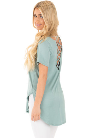 Blue Sage Top with Criss Cross Back and Rounded Hem back side close up