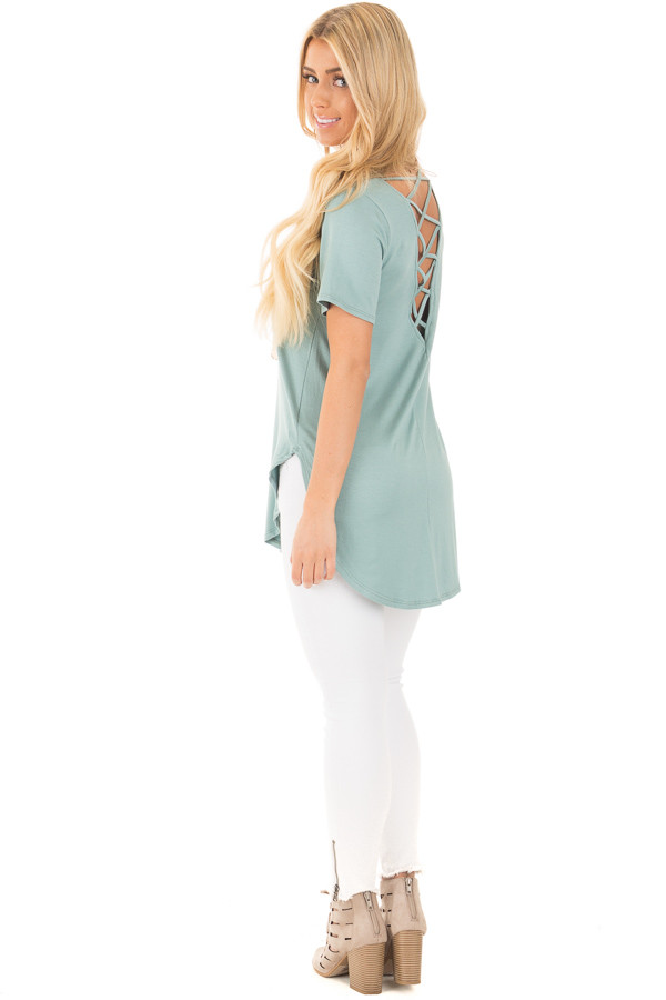 Blue Sage Top with Criss Cross Back and Rounded Hem back side full body