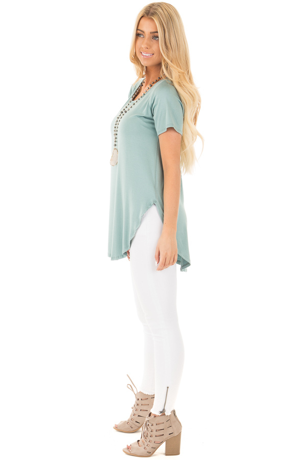 Blue Sage Top with Criss Cross Back and Rounded Hem side full body