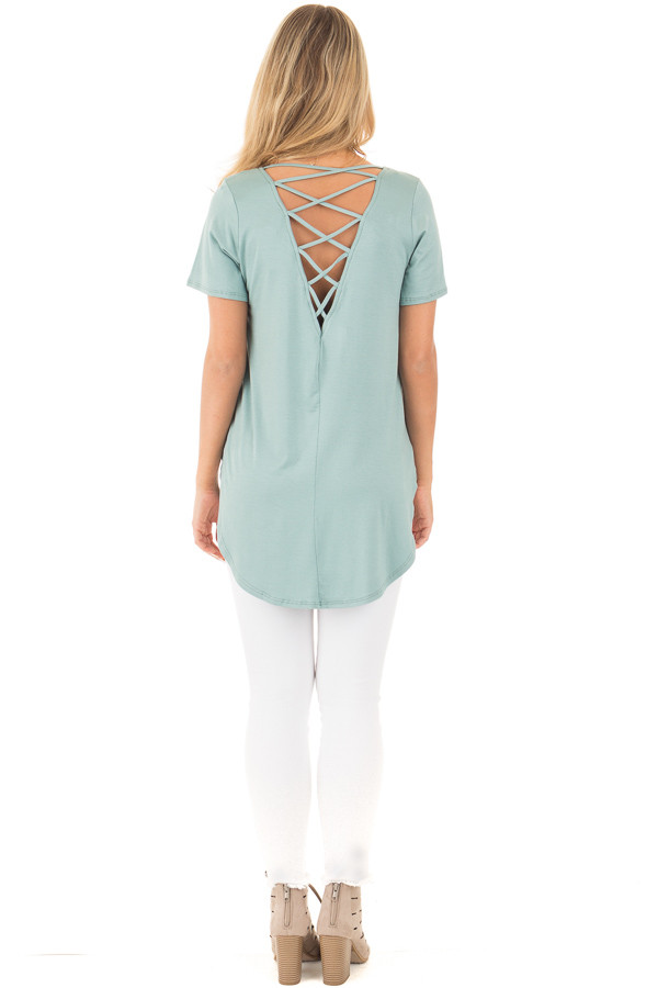Blue Sage Top with Criss Cross Back and Rounded Hem back full body