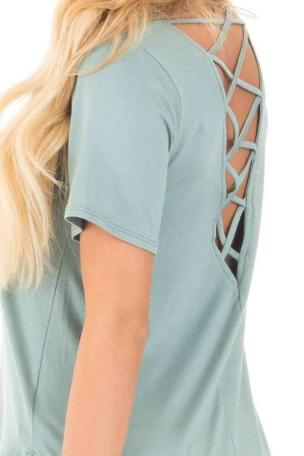 Blue Sage Top with Criss Cross Back and Rounded Hem detail