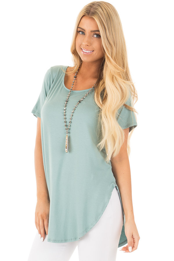 Blue Sage Top with Criss Cross Back and Rounded Hem front close up