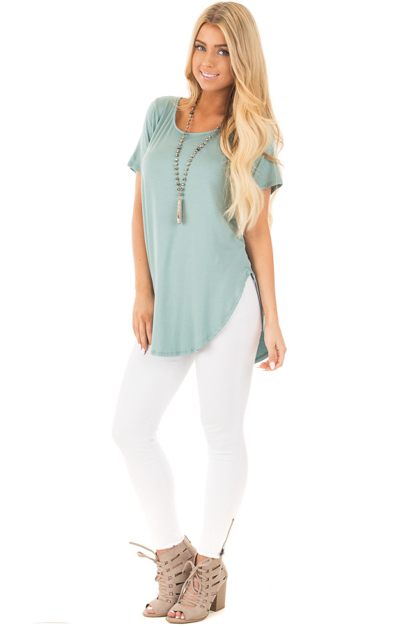 Blue Sage Top with Criss Cross Back and Rounded Hem front full body