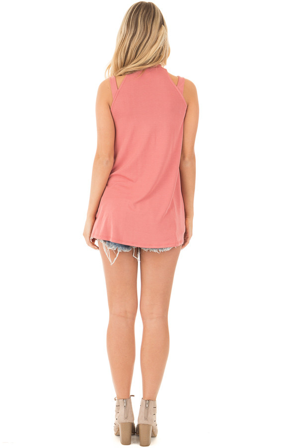Dusty Coral Strappy Halter Tunic Tank back full body