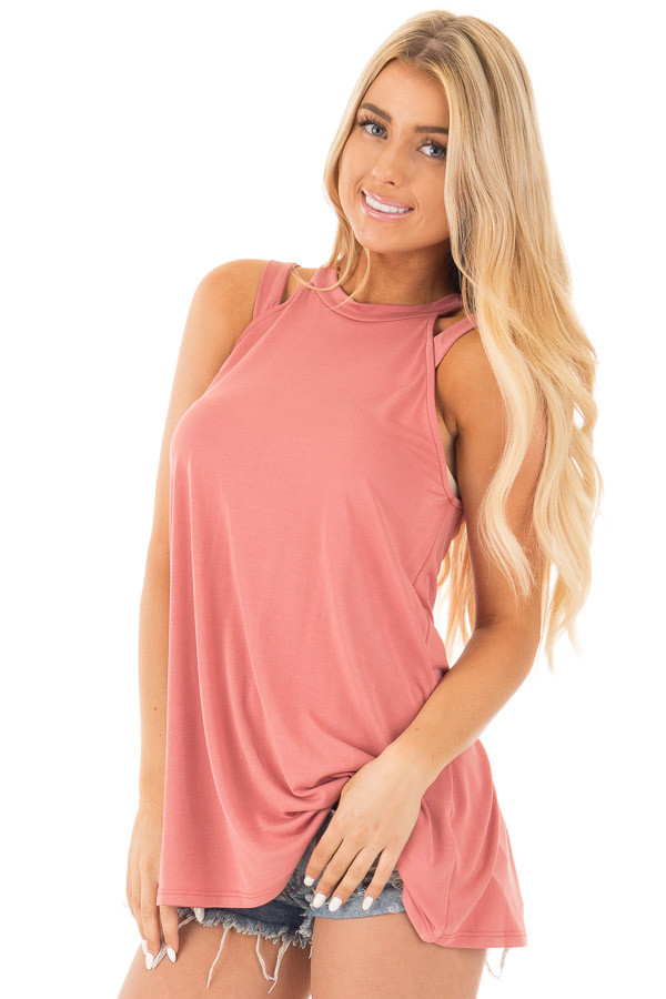 Dusty Coral Strappy Halter Tunic Tank front close up