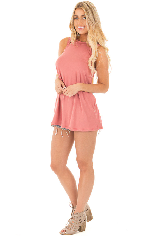 Dusty Coral Strappy Halter Tunic Tank front full body