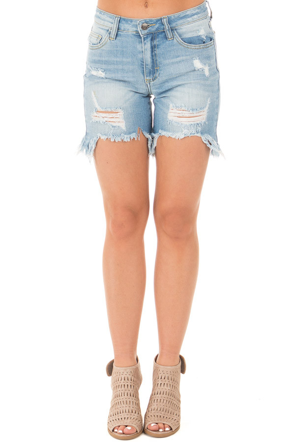 Medium Wash Frayed and Cropped Denim Shorts front view