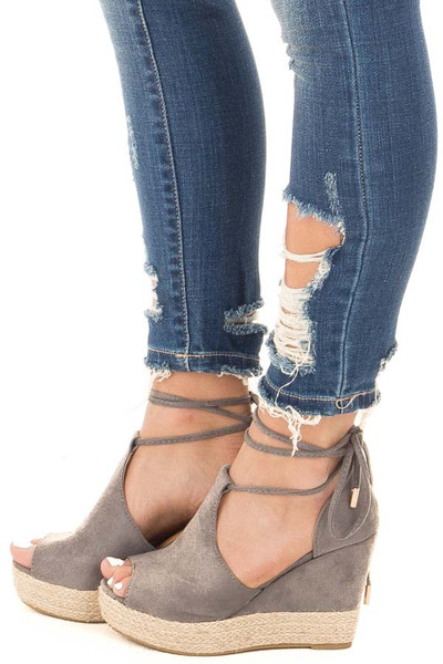 Grey Faux Suede Open Toe Tie Up Wedge side view