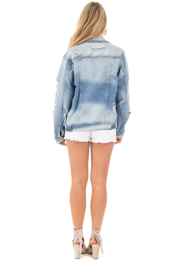 Faded Distressed Denim Jacket with Front Pockets back full body