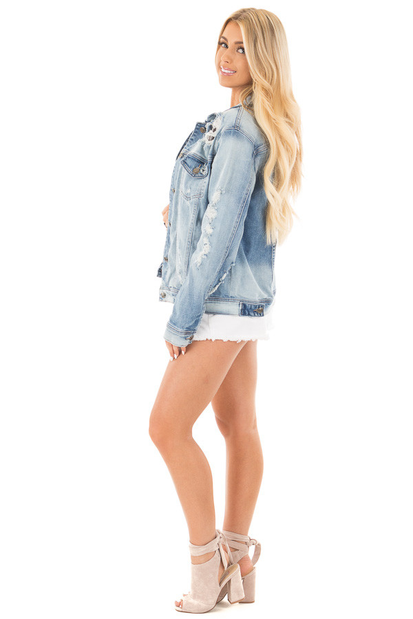 Faded Distressed Denim Jacket with Front Pockets side full body