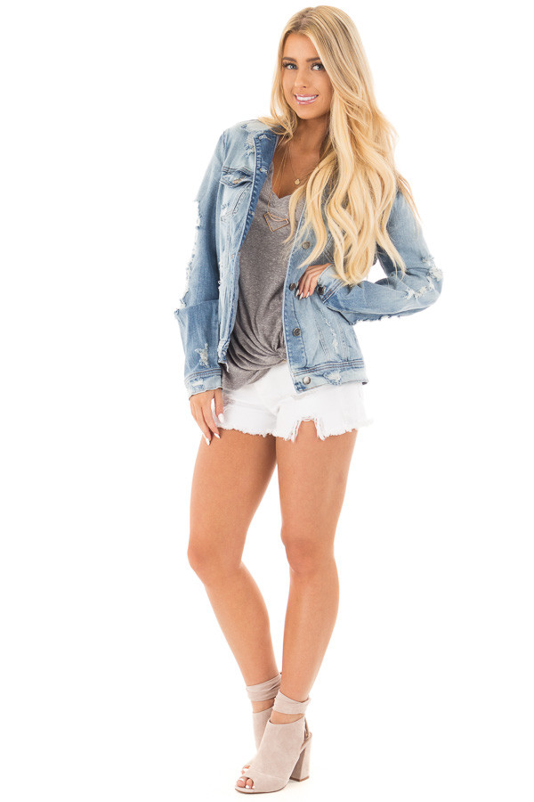 Faded Distressed Denim Jacket with Front Pockets front full body