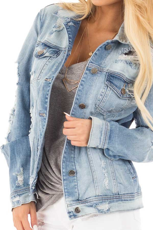 Faded Distressed Denim Jacket with Front Pockets detail