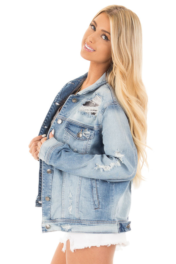 Faded Distressed Denim Jacket with Front Pockets side close up