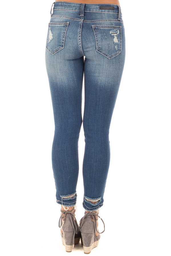 Dark Denim Skinny Jeans with Destroyed Details back view
