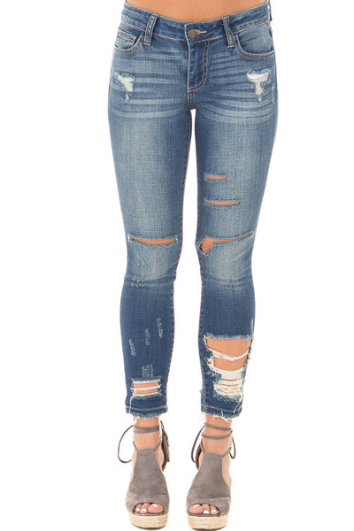 Dark Denim Skinny Jeans with Destroyed Details front view