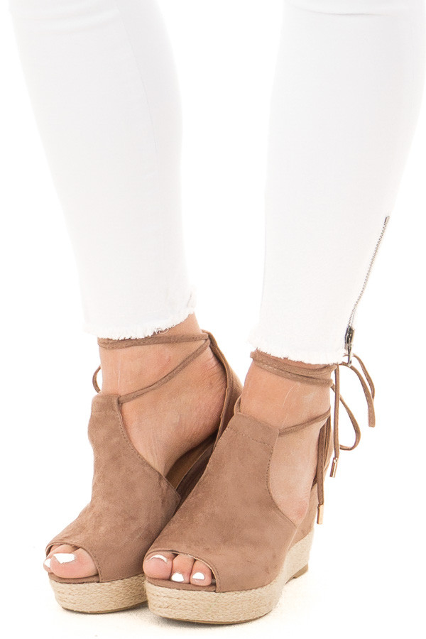 Taupe Faux Suede Open Toe Tie Up Wedge front view