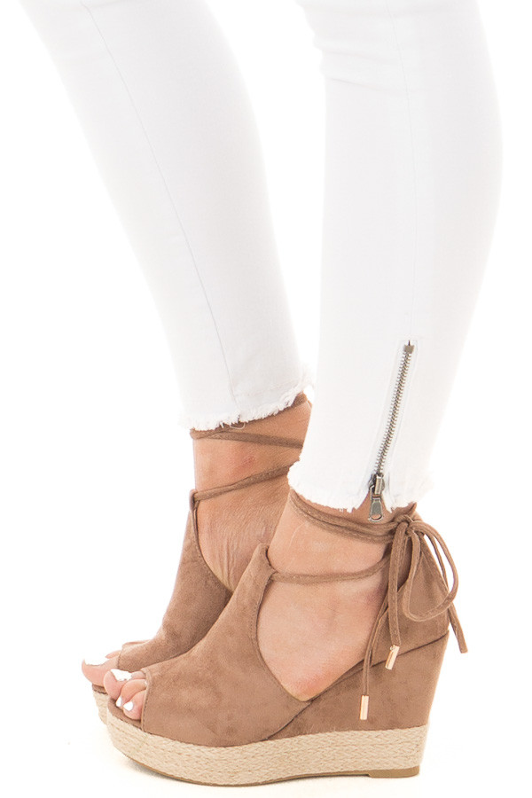 Taupe Faux Suede Open Toe Tie Up Wedge side view