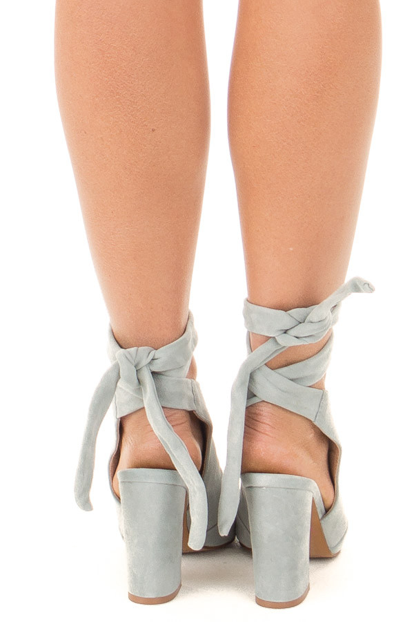 Blue Grey Suede Open Toe Ankle Boots with Tie Up Detail back view
