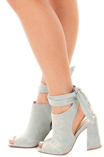 Blue Grey Suede Open Toe Ankle Boots with Tie Up Detail side view
