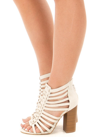 Off White Faux Leather Caged Heel Bootie with Knot Detail side view
